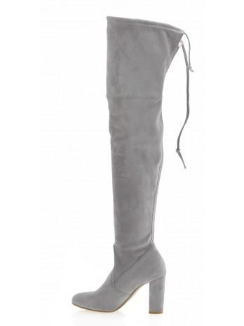 Kozaki damskie za kolano szare 074/stretch