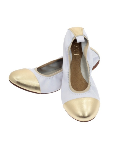 Baleriny damskie białe złote 019
