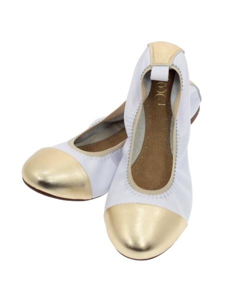 Baleriny damskie białe złote BOOCI
