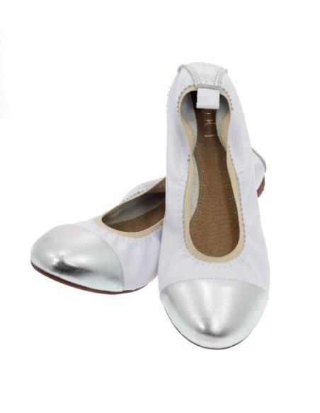 Baleriny damskie białe srebrne 019