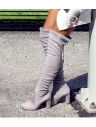 Kozaki damskie za kolano szare BOOCI