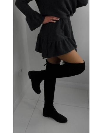 Kozaki damskie za kolano czarne 072/stretch-skóra