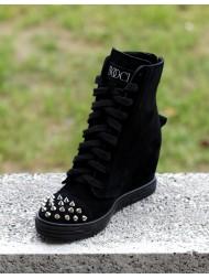 Sneakersy damskie czarne zamszowe ćwieki 284/s