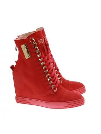 Sneakersy damskie czerwone zamszowe złota blaszka 066/z/b