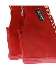 Sneakersy czerwone logo złoty łańcuch BOOCI
