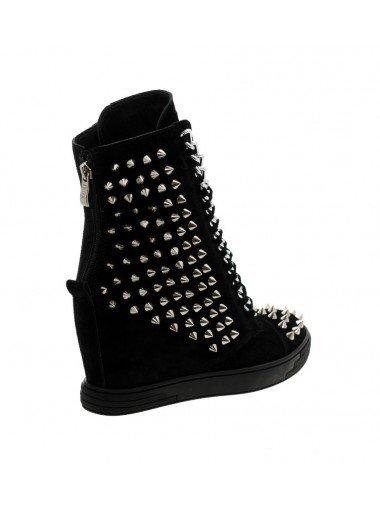 Czarne sneakersy kolce srebrny łańcuch hard rock BOOCI