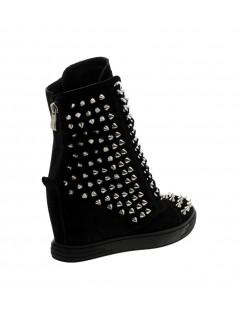 Czarne sneakersy kolce srebrny łańcuch BOOCI