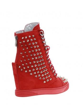 Sneakersy damskie czerwone hard rock 311/zamsz