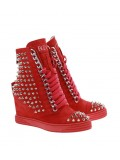 Czerwone sneakersy kolce srebrny łańcuch hard rock BOOCI