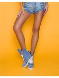 Niebieskie sneakersy kolce srebrny łańcuch hard rock BOOCI