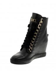 Sneakersy damskie czarne lico złoty łańcuch 066/lico/Z