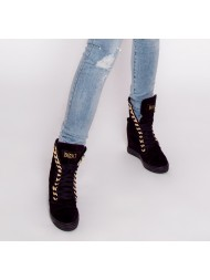 Sneakersy czarne zamszowe złoty łańcuch BOOCI
