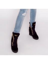 Sneakersy damskie czarne zamszowe złoty łańcuch 066/zamsz