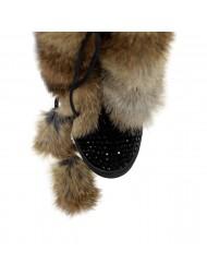 Długie kozaki czarne futro beżowe BC BOOCI