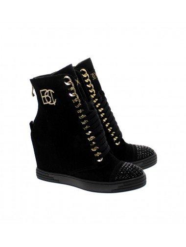 Czarne sneakersy cyrkonie złote NEW BOOCI