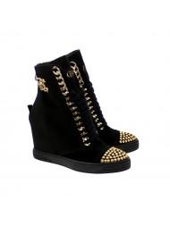 Sneakersy damskie czarne złote cyrkonie BC BOOCI