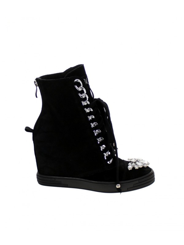 Sneakersy czarne glamour srebrny łańcuch BOOCI