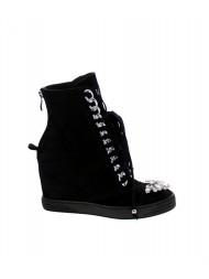 Sneakersy damskie czarne glamour srebrny łańcuch 199/s/zamsz