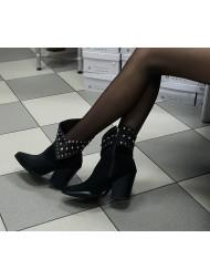 Kowbojki damskie czarne 379 379/s/zamsz