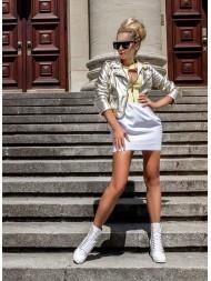 Sneakersy damskie białe lico złoty łańcuch 066/z