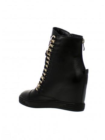 Sneakersy damskie czarne lico złote BC